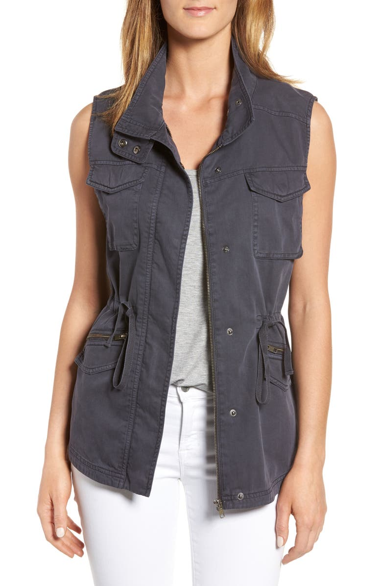 CASLON<SUP>®</SUP> Utility Vest, Main, color, GREY EBONY