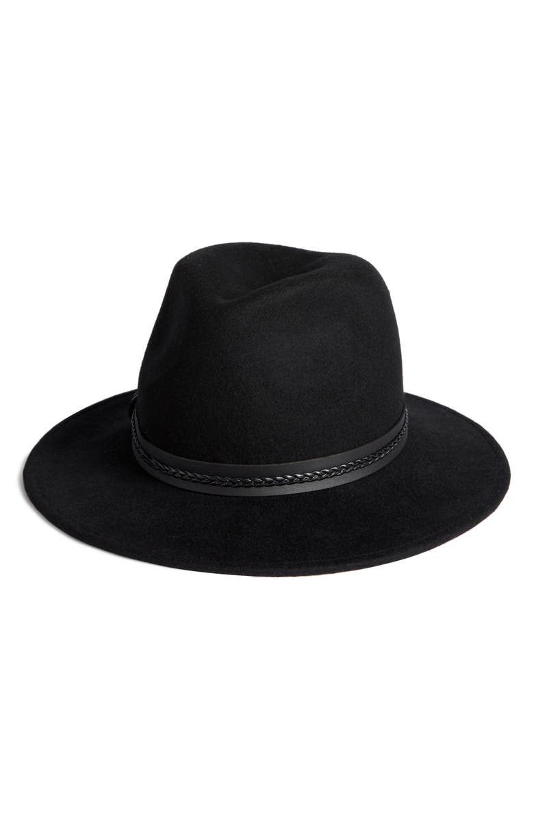 SOMETHING NAVY Braided Trim Felted Wool Panama Hat, Main, color, 001