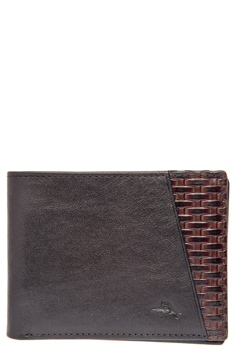TOMMY BAHAMA 'Basketweave' Leather Wallet, Main, color, 001