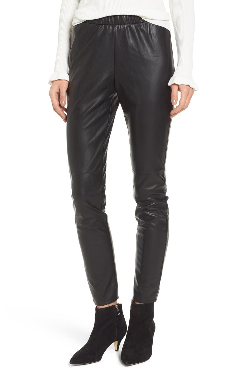 CUPCAKES AND CASHMERE Zowie Faux Leather Pants, Main, color, 001