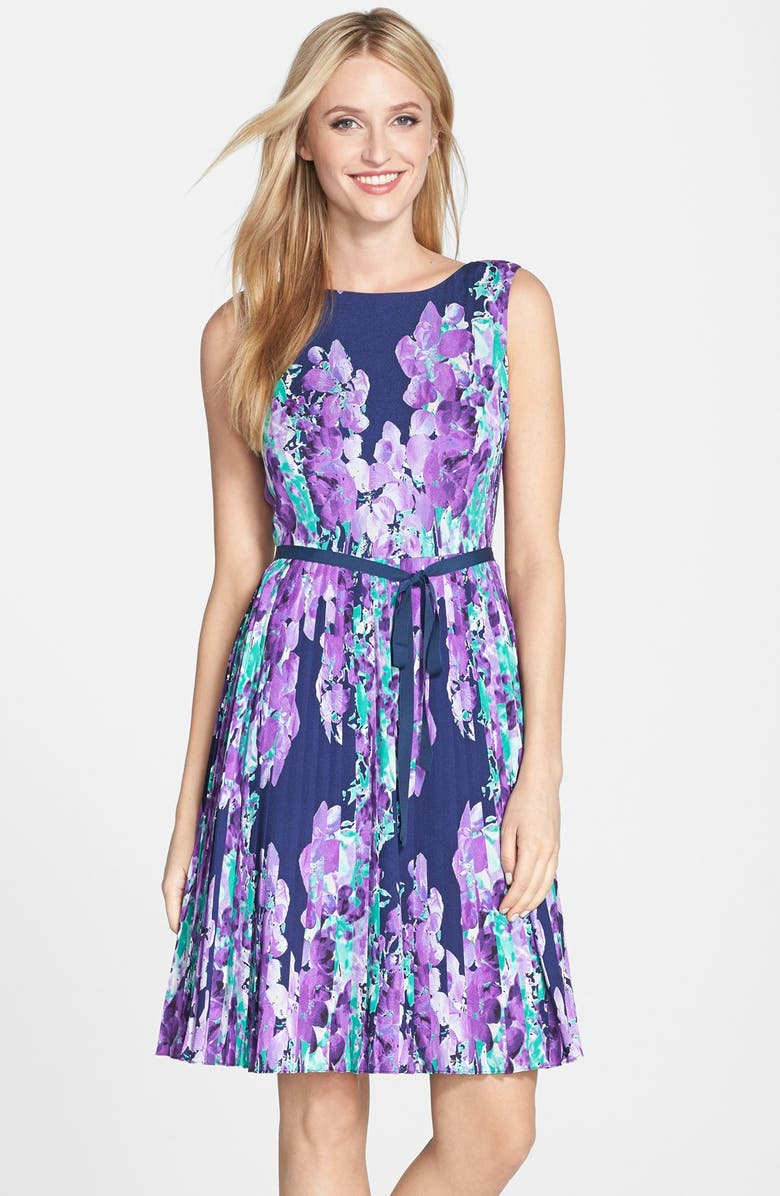 ADRIANNA PAPELL Floral Print Pleat Fit & Flare Dress, Main, color, NAVY MULTI