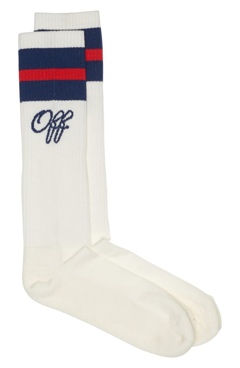 OFF-WHITE Long College Socks, Main, color, 100