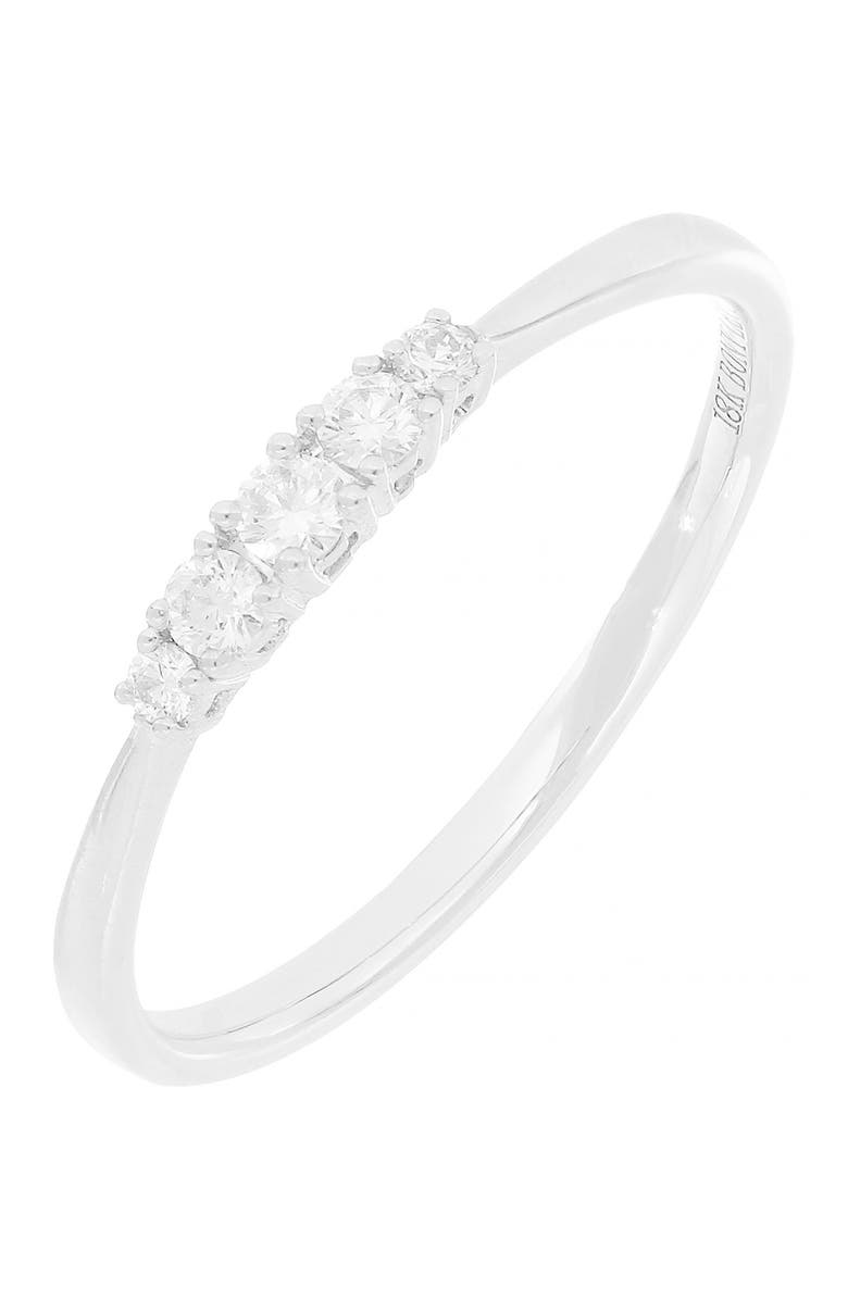 BONY LEVY 18K White Gold Diamond 5 Stone Graduated Stackable Ring - 0.16 ctw, Main, color, 18KW