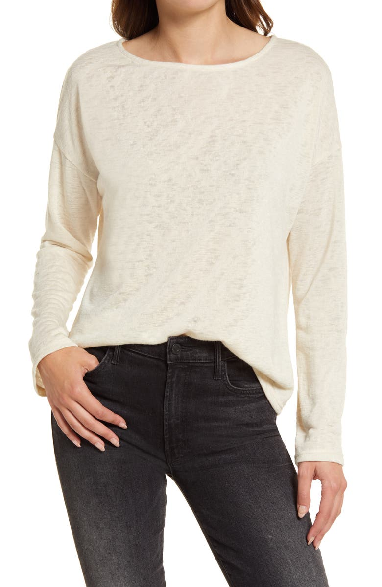 TREASURE & BOND Structured Knit Tunic Top, Main, color, BEIGE OATMEAL