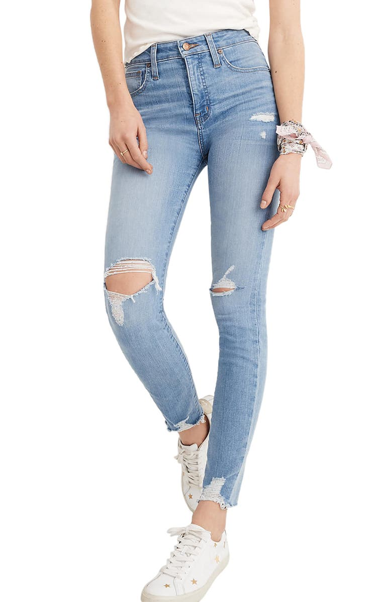 MADEWELL Curvy High Waist Distressed Hem Skinny Jeans, Main, color, 400