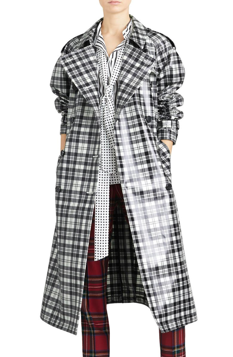 BURBERRY Eastheath Plaid Coated Wool Trench Coat, Main, color, BLACK/ WHITE