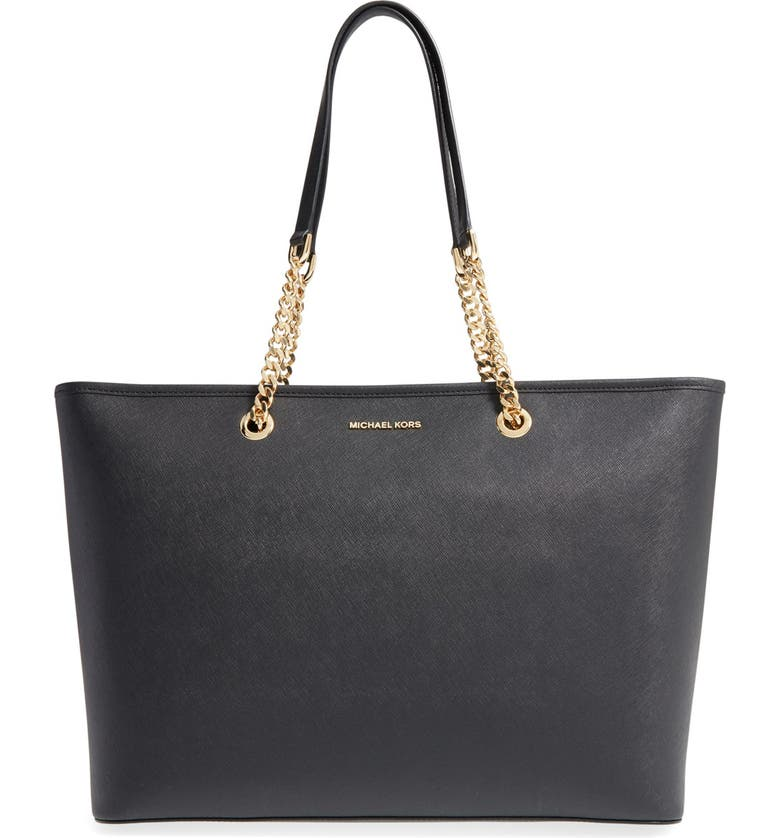 MICHAEL MICHAEL KORS 'Medium Jet Set Chain' Saffiano Leather Tote, Main, color, 001