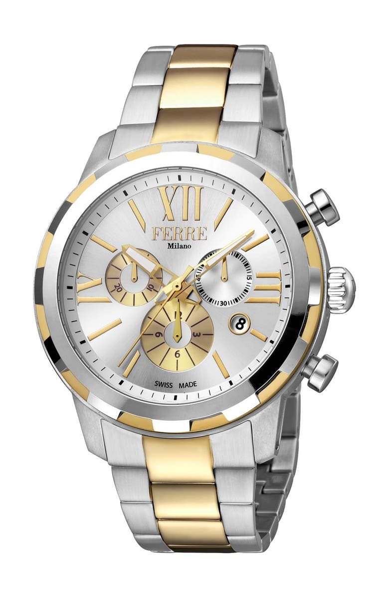 FERRE MILANO Men's Uomo Roma Two-Tone Stainless Steel Chronograph Watch, 44mm, Main, color, TWO TONED SS/GP
