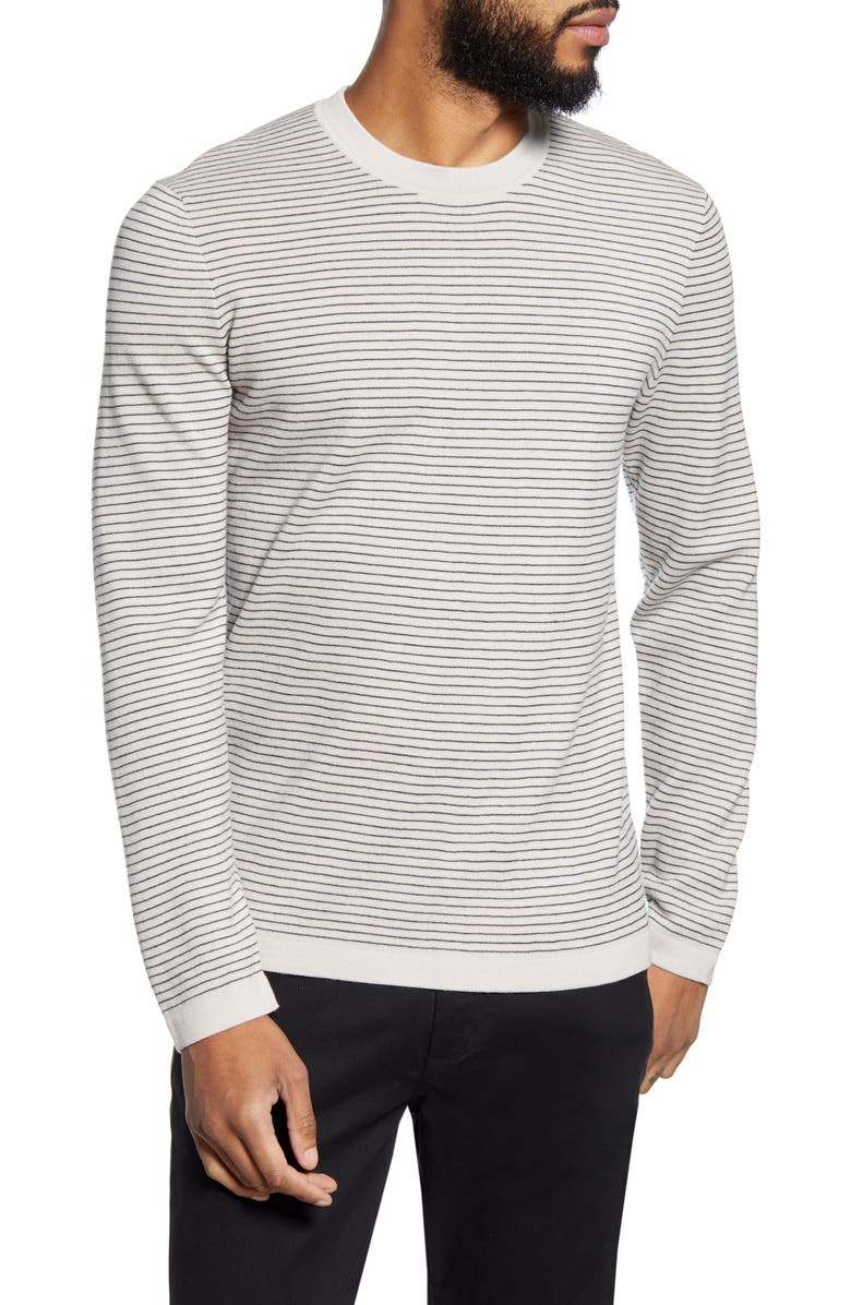 THEORY Ollis Stripe Crewneck Wool Sweater, Main, color, 195