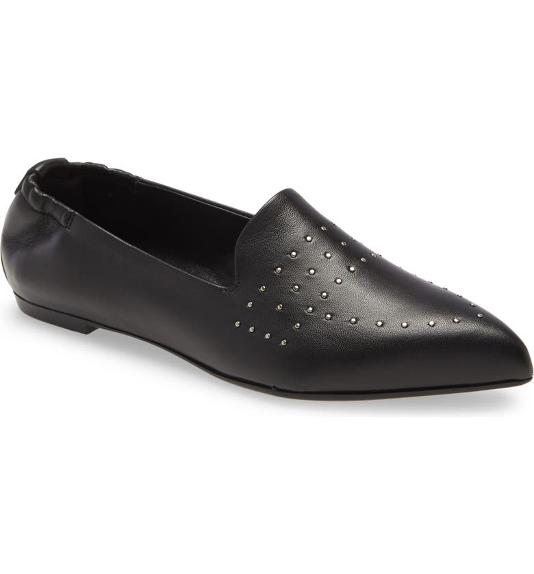 AGL Studded Pointy Toe Moc, Main, color, BLACK LEATHER