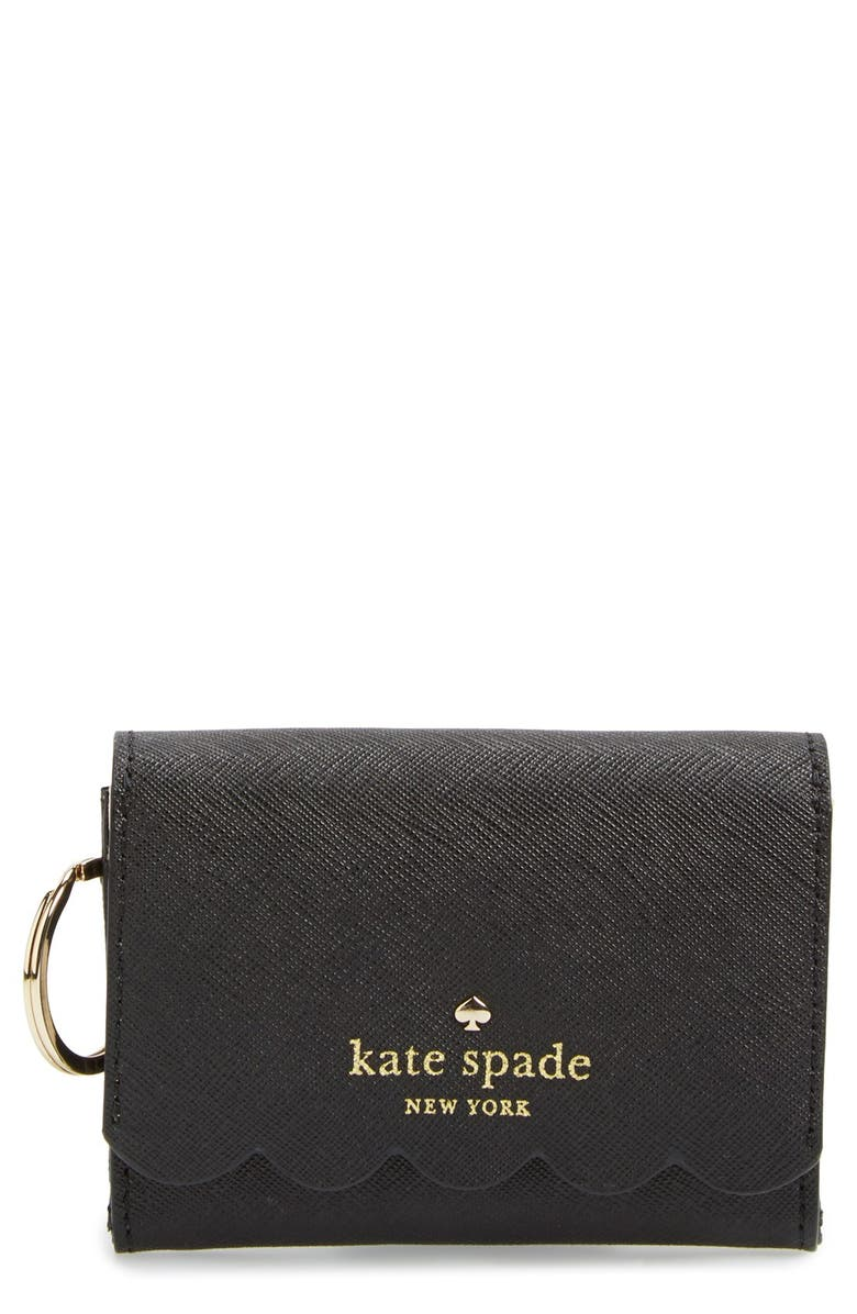 KATE SPADE NEW YORK 'lily avenue - darla' leather wallet, Main, color, BLACK/ PEBBLE