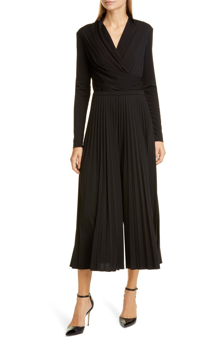 MAX MARA Vieste Long Sleeve Pleated Wide Leg Jersey Jumpsuit, Main, color, 001