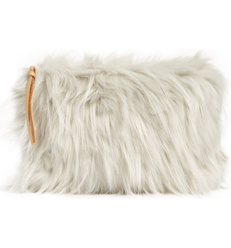 NORDSTROM at Home Cuddle Up Faux Fur Pouch, Main, color, GREY LUNAR TEXTURE
