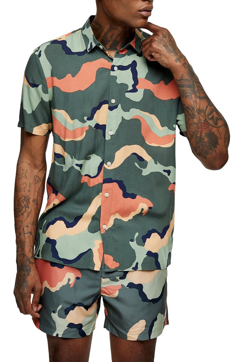 TOPMAN Slim Fit Camouflage Short Sleeve Button-Up Shirt, Main, color, 300