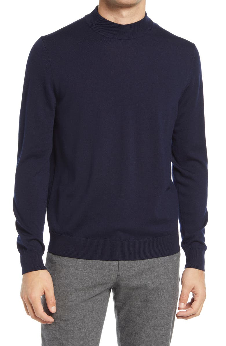 NN07 Men's Martin 6328 Mock Neck Wool Sweater, Main, color, NAVY BLUE