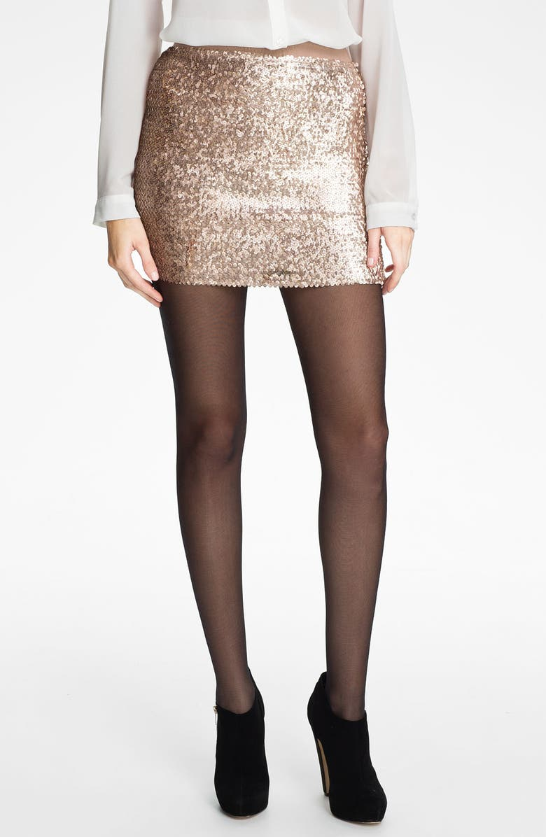 LILY WHITE Sequin Miniskirt, Main, color, CHAMPAGNE