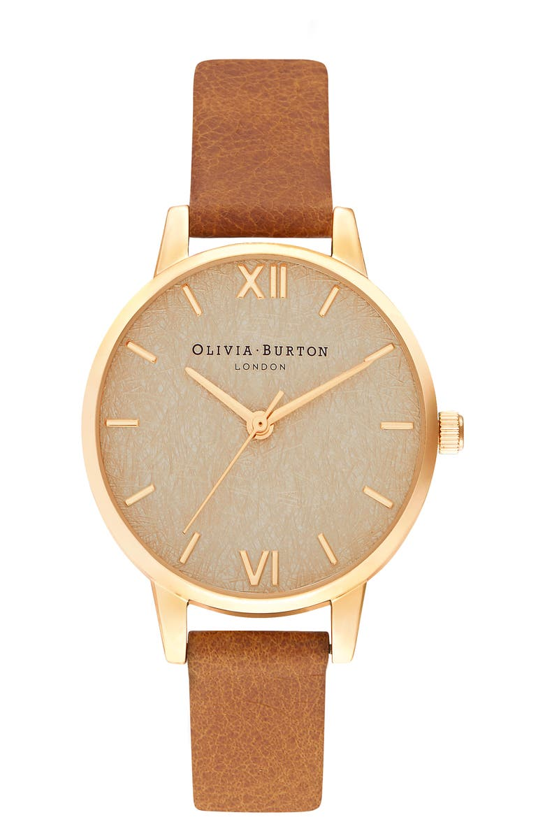 OLIVIA BURTON Woven Dial Leather Strap Watch, 30mm, Main, color, 200