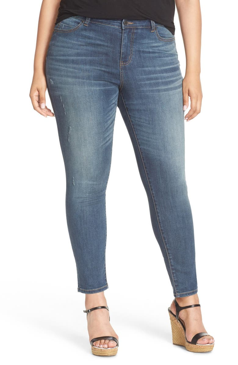 CASLON<SUP>®</SUP> Distressed Stretch Ankle Skinny Jeans, Main, color, 401
