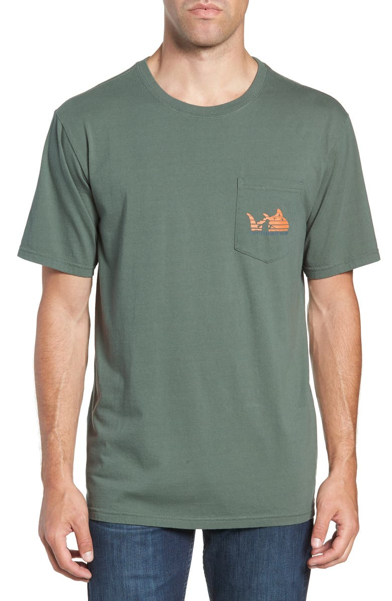 SOUTHERN TIDE Sunset Graphic Pocket T-Shirt, Main, color, DUCK HUNTING GREEN