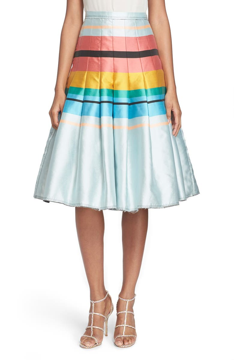 TRACY REESE Pleated Stripe Skirt, Main, color, 400