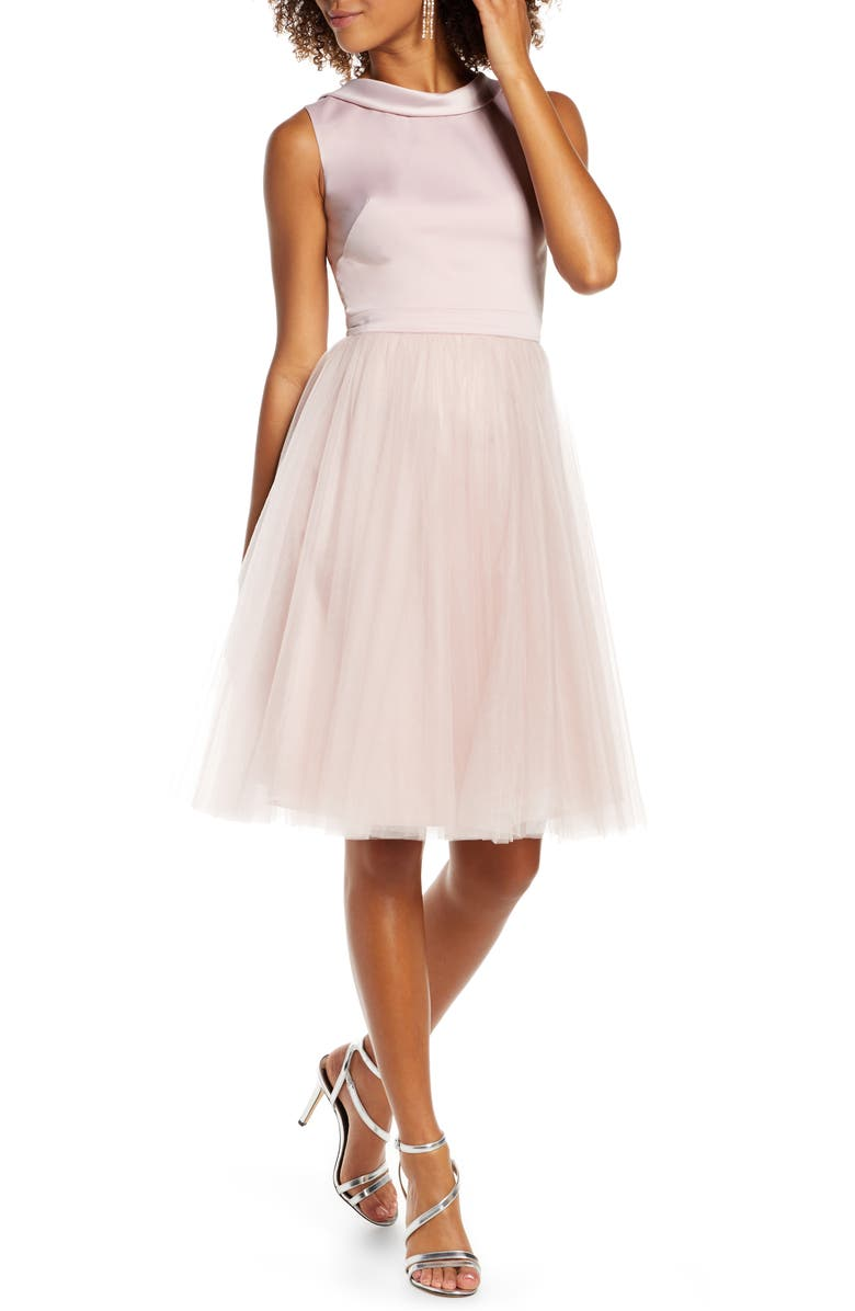 CHI CHI LONDON Zeina Lace Back Party Dress, Main, color, 660
