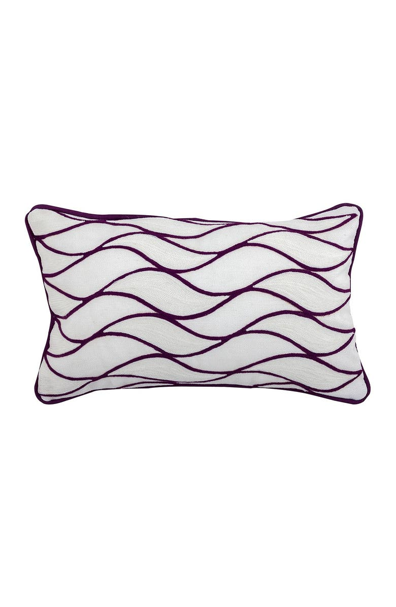"""DIVINE HOME Embroidered Curves Outdoor Pillow - 12"""" x 20"""" - Purple, Main, color, PURPLE"""