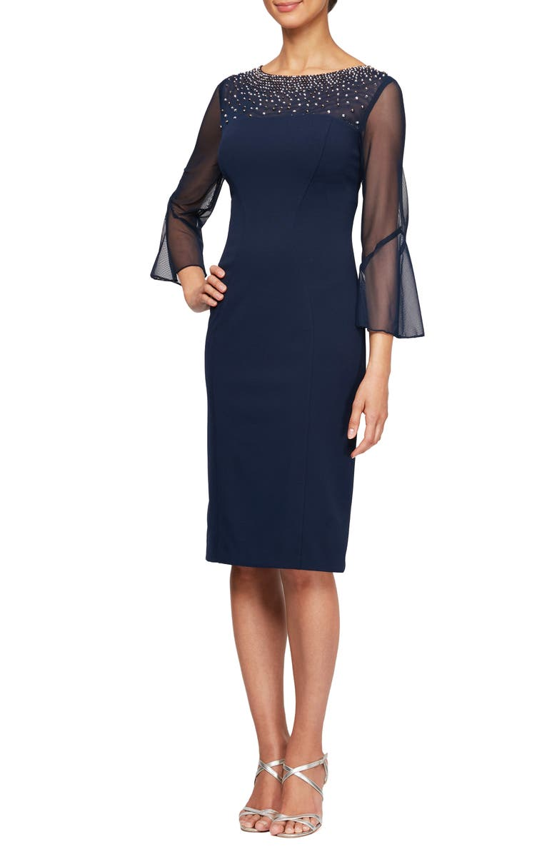 ALEX EVENINGS Embellished Illusion Neck Sheath Dress, Main, color, 473