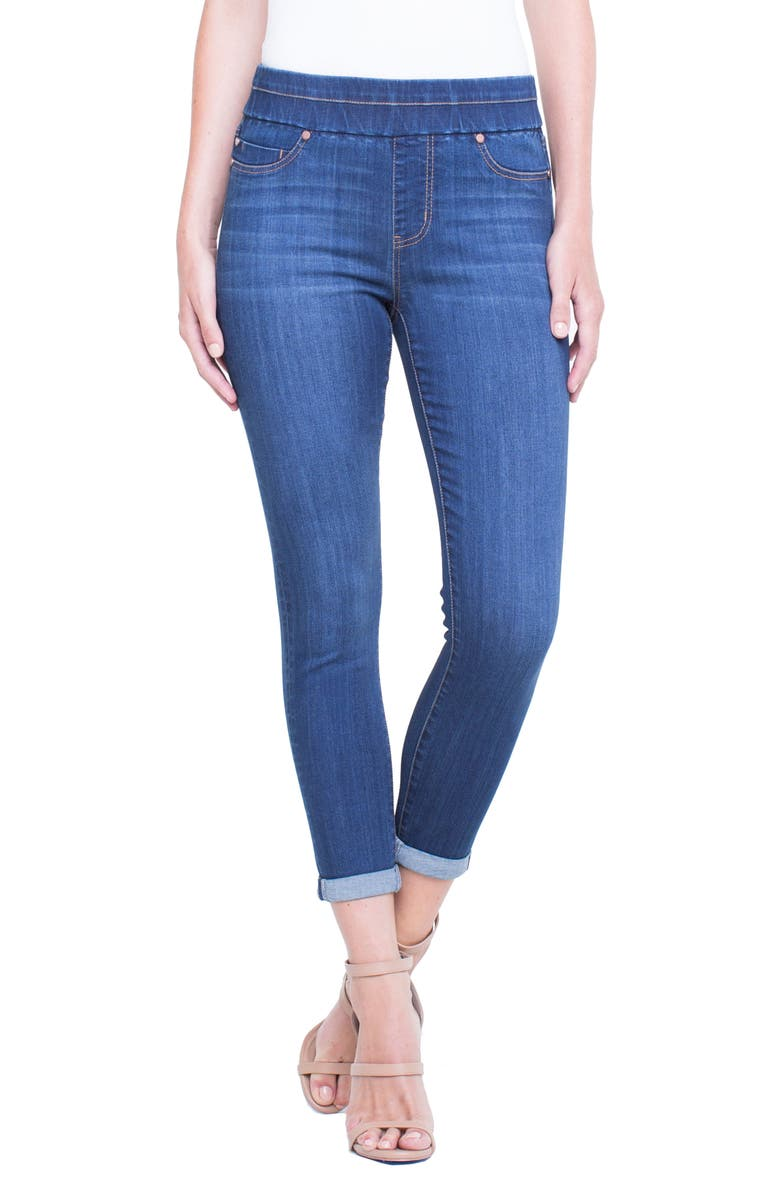 LIVERPOOL Zoe Pull-On Rolled Cuff Crop Jeans, Main, color, 403
