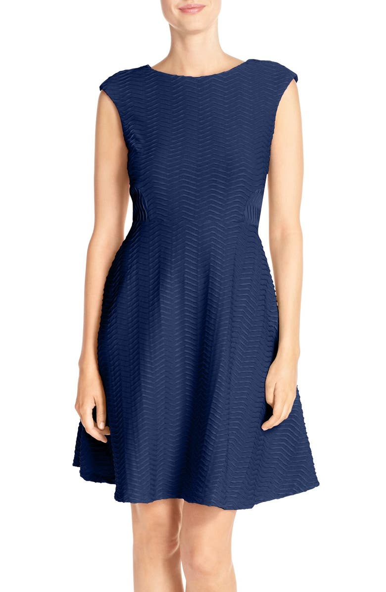 CHETTA B Textured Fit & Flare Dress, Main, color, INK