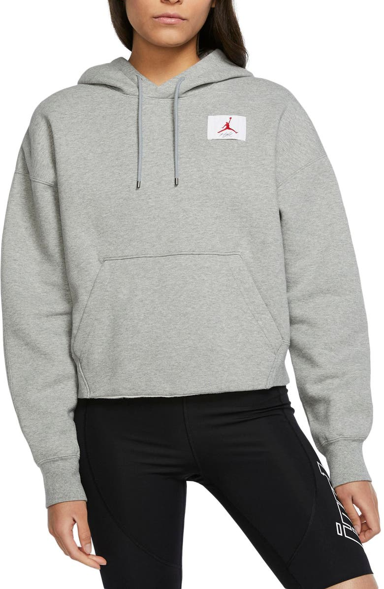 NIKE Jordan Flight Fleece Hoodie, Main, color, DARK GREY HEATHER