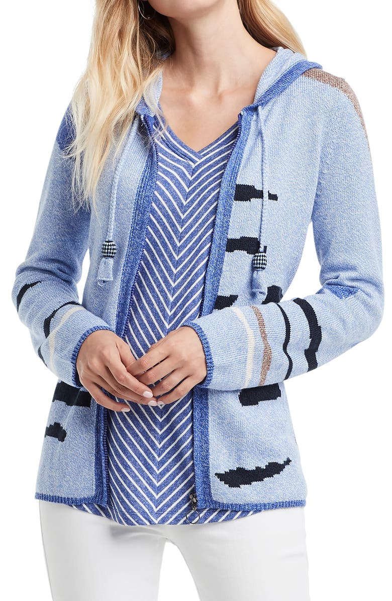NIC+ZOE Easy Pieces Hooded Full Zip Sweater, Main, color, 400