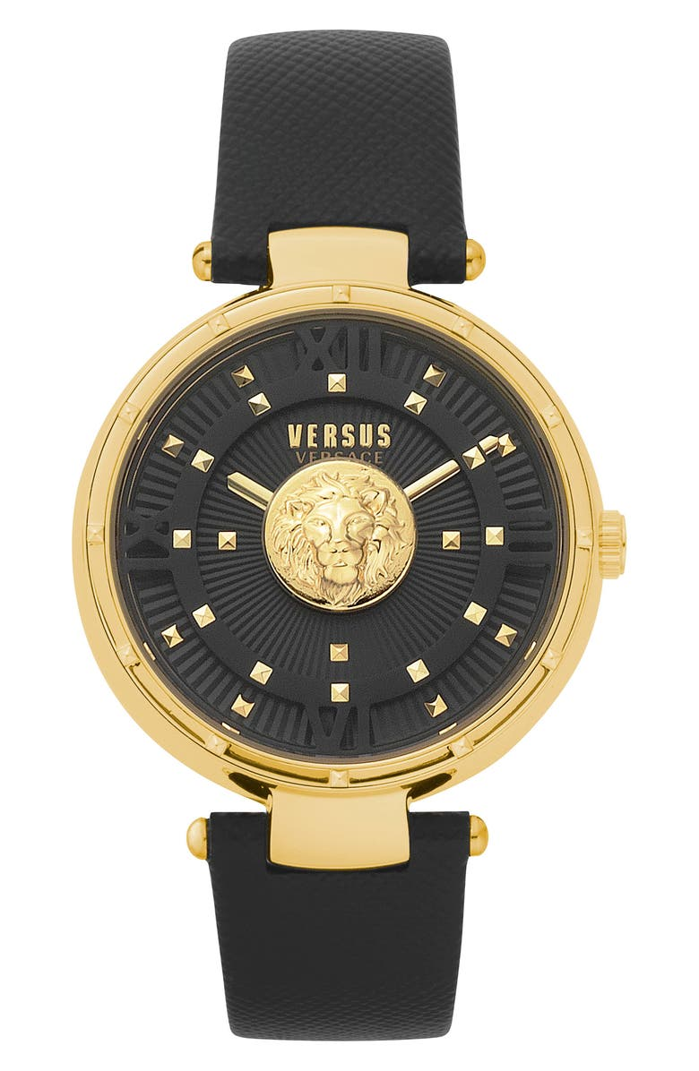 VERSUS VERSACE Moscova Leather Strap Watch, 38mm, Main, color, BLACK/ GOLD