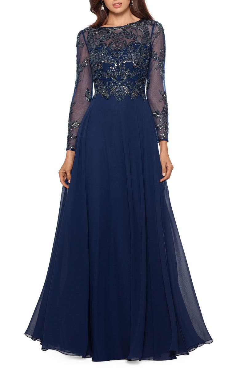 XSCAPE Long Sleeve Beaded Chiffon Gown, Main, color, NAVY/ GUN