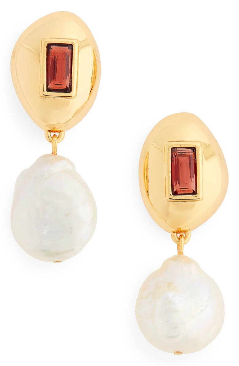 LIZZIE FORTUNATO Royal Freshwater Pearl & Garnet Earrings, Main, color, GOLD/ PEARL