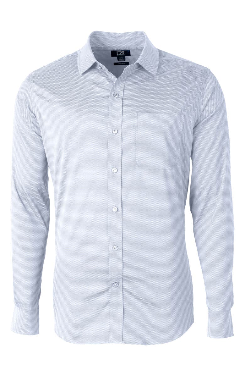 CUTTER & BUCK Versatech Geo Dobby Classic Fit Button-Up Performance Shirt, Main, color, WHITE/FRENCH BLUE