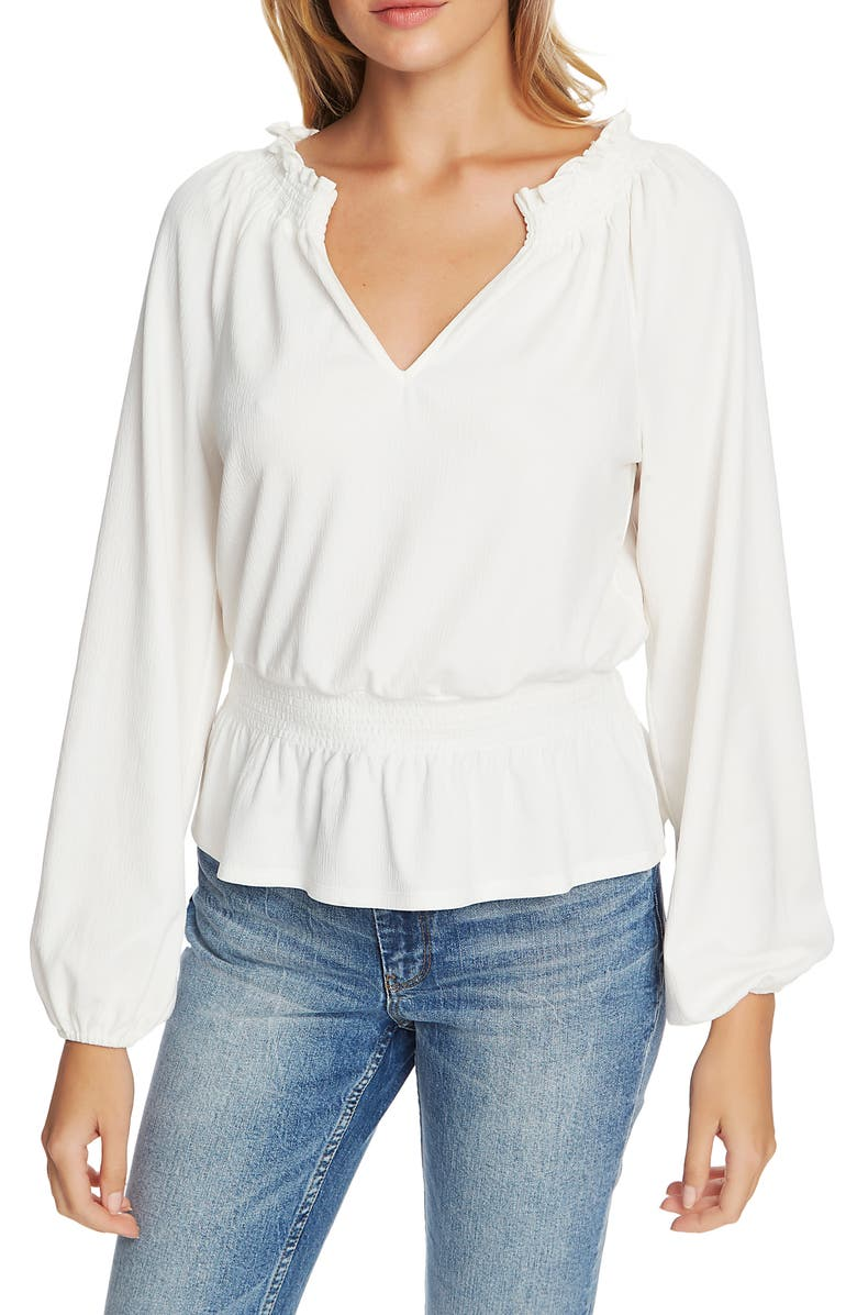 1.STATE Crinkle Smock Waist Blouse, Main, color, SOFT ECRU