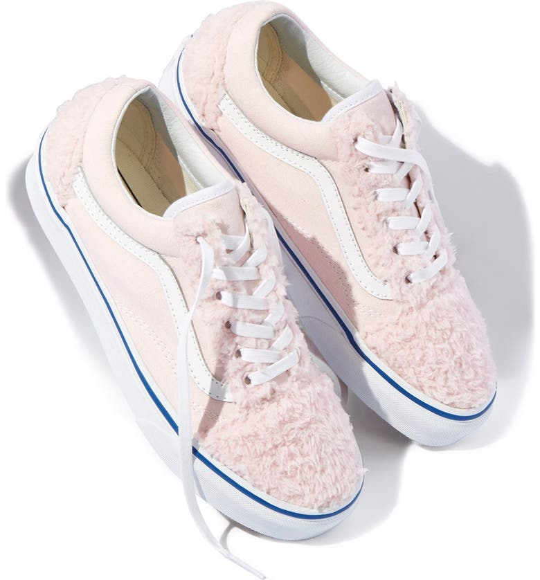 VANS 'Old Skool' Faux Shearling & Canvas Sneaker, Main, color, BABY PINK/WHITE