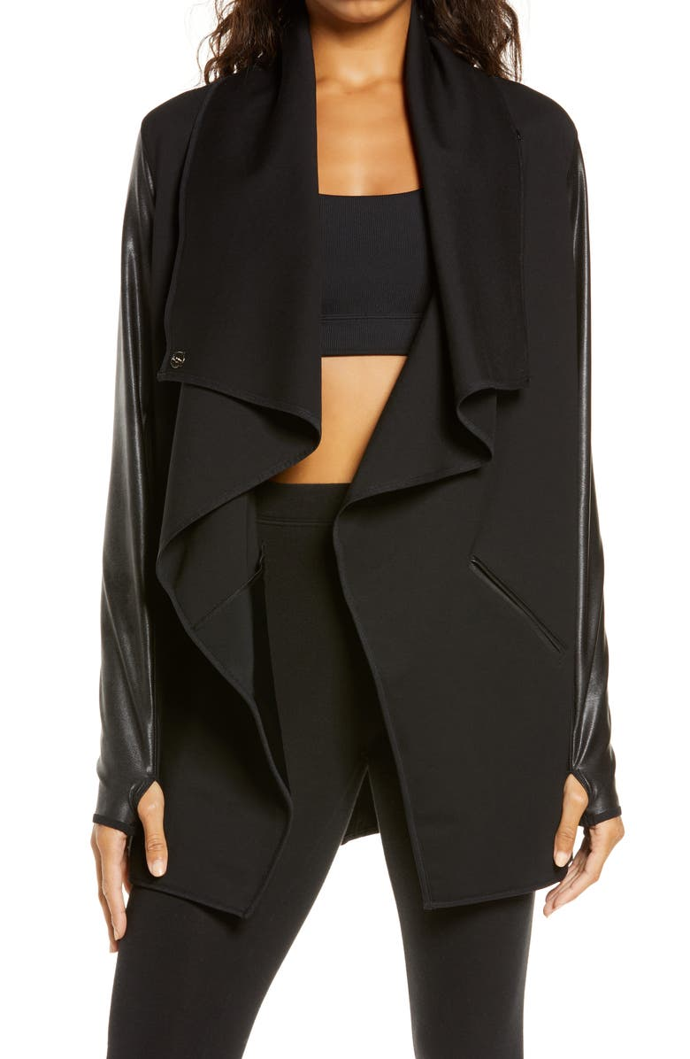 SPANX<SUP>®</SUP> Faux Leather Convertible Jacket, Main, color, VERY BLACK