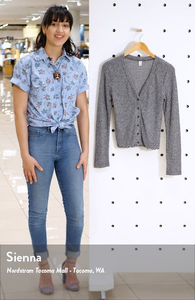 Button Front Long Sleeve Crop Waffle Knit Top, sales video thumbnail