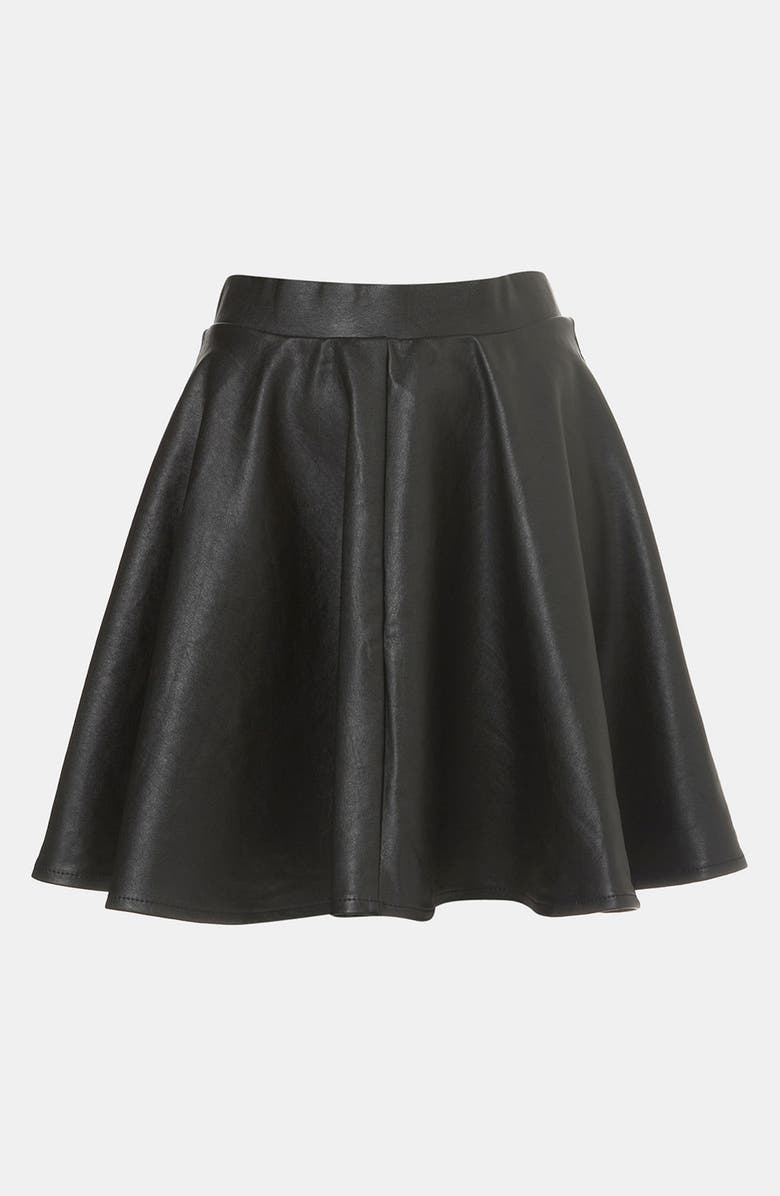 TOPSHOP 'Andie' Faux Leather Skater Skirt, Main, color, BLACK