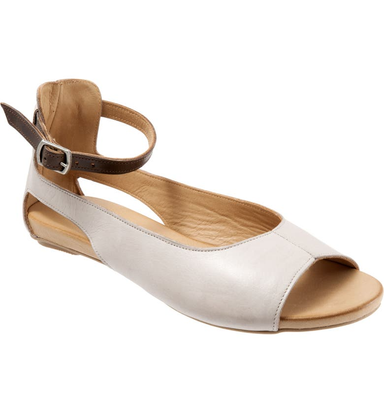 BUENO Donna Ankle Strap Sandal, Main, color, LIGHT GREY LEATHER