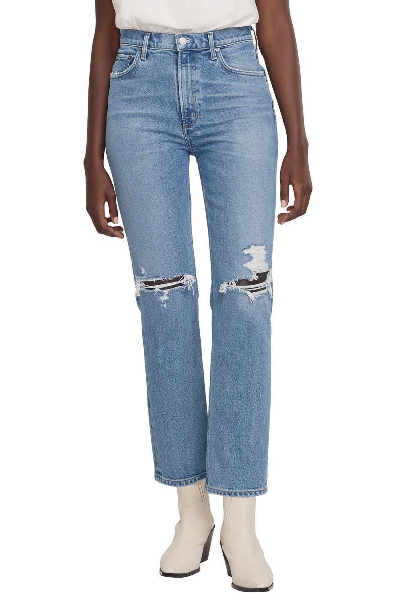 AGOLDE Wilder Ripped Straight Leg Jeans, Main, color, WHIPLASH