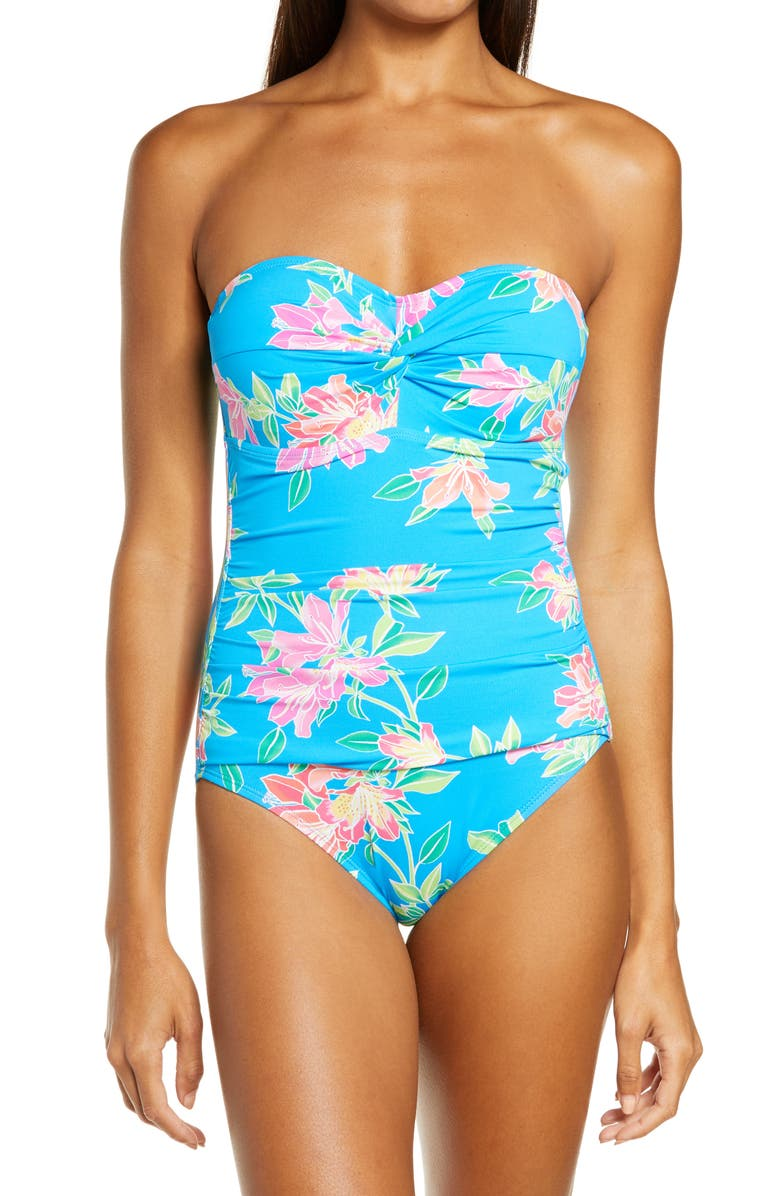 TOMMY BAHAMA Sun Lilies Twist Bandeau One-Piece Swimsuit, Main, color, 400