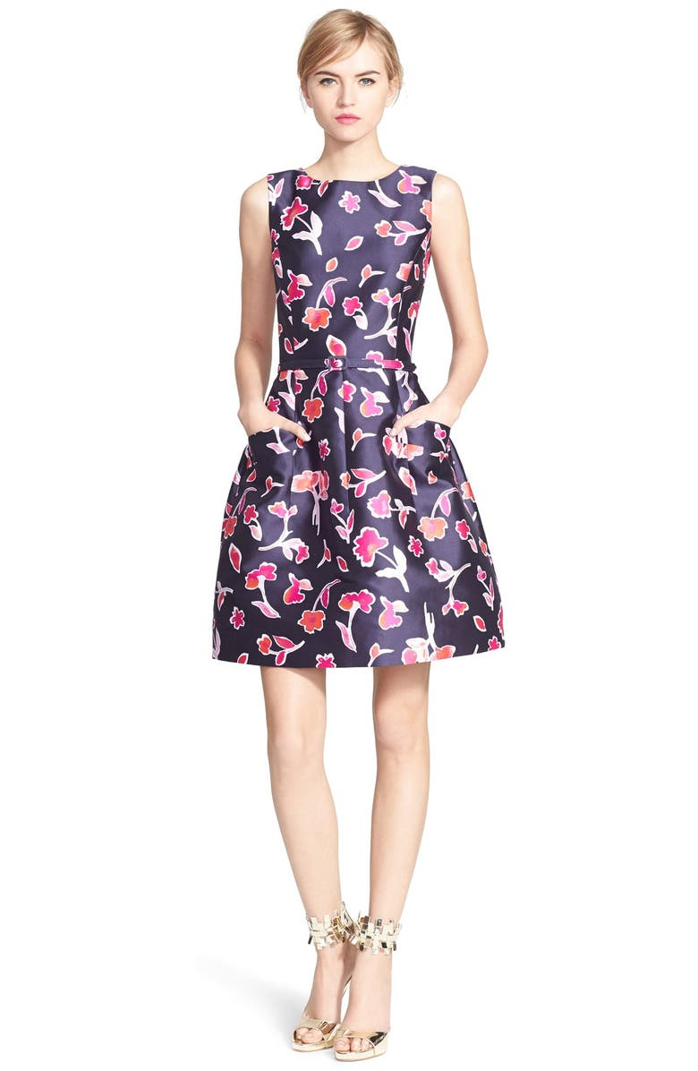 OSCAR DE LA RENTA Poppy Print Mikado Fit & Flare Dress, Main, color, 415