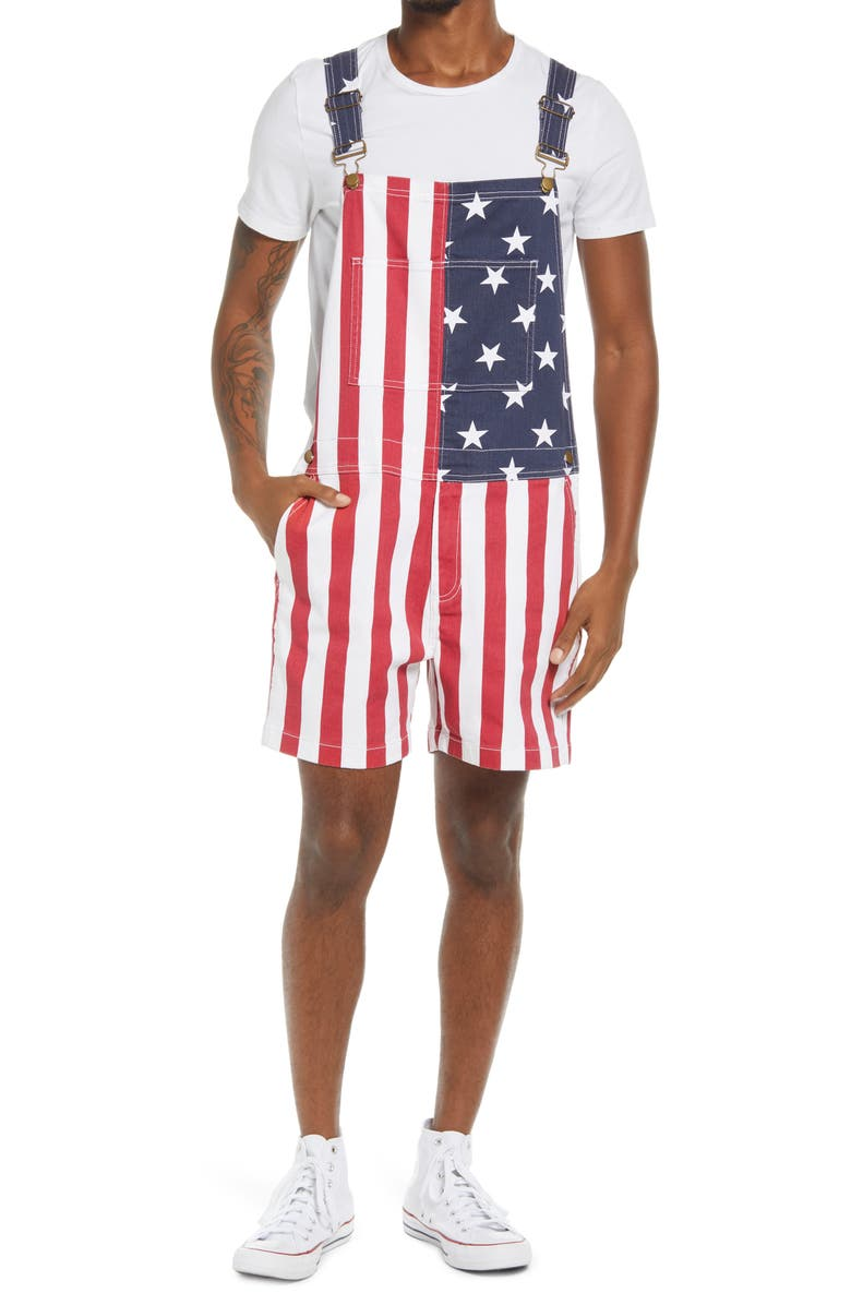 CHUBBIES Men's The Chubberalls 2.0 American Flag Denim Overalls, Main, color, OPEN MISCELLANEOUS