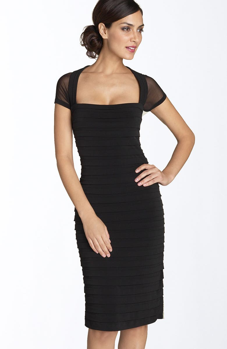 MAGGY LONDON Illusion Back Pleated Matte Jersey Dress, Main, color, Black
