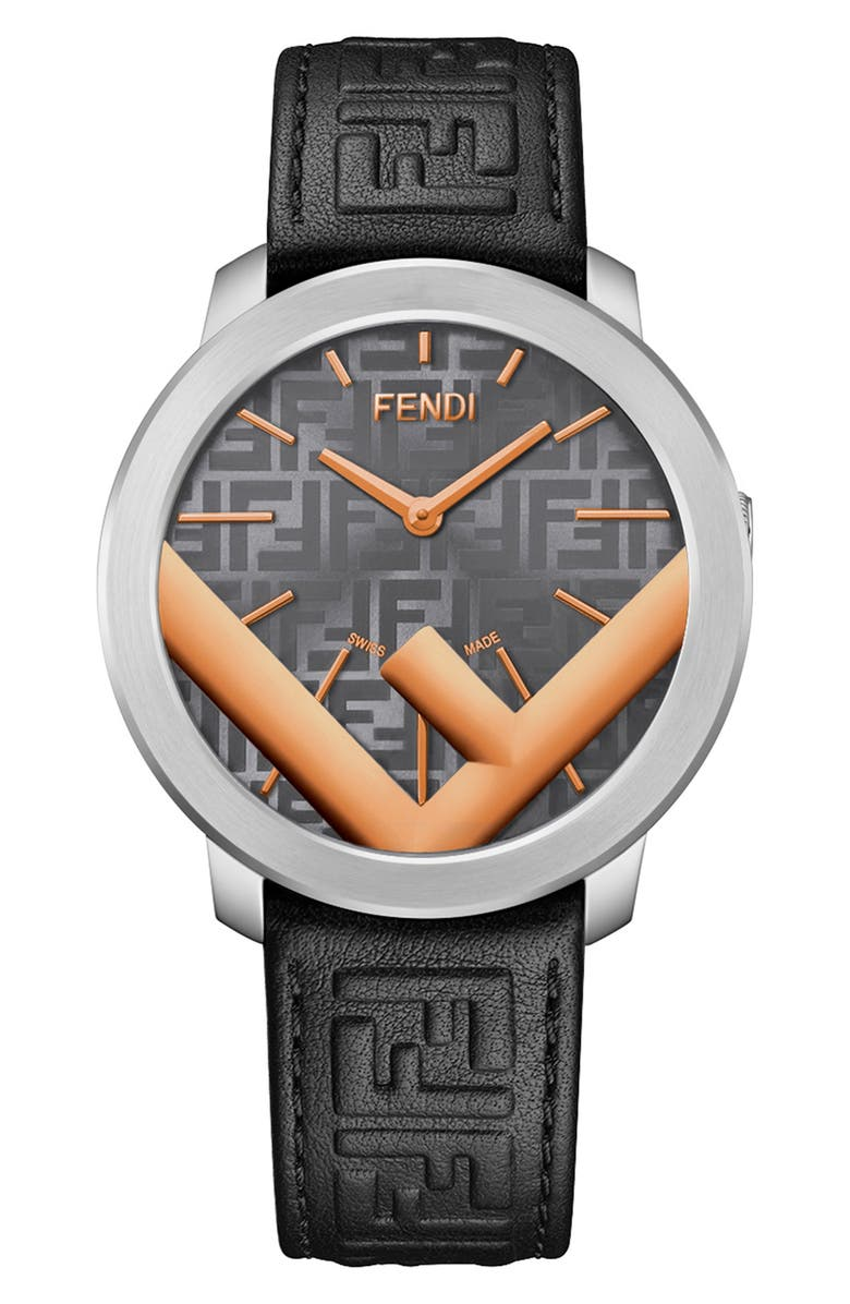 FENDI Run Away Leather Strap Watch, 41mm, Main, color, BLACK/ GREY/ TWO TONE