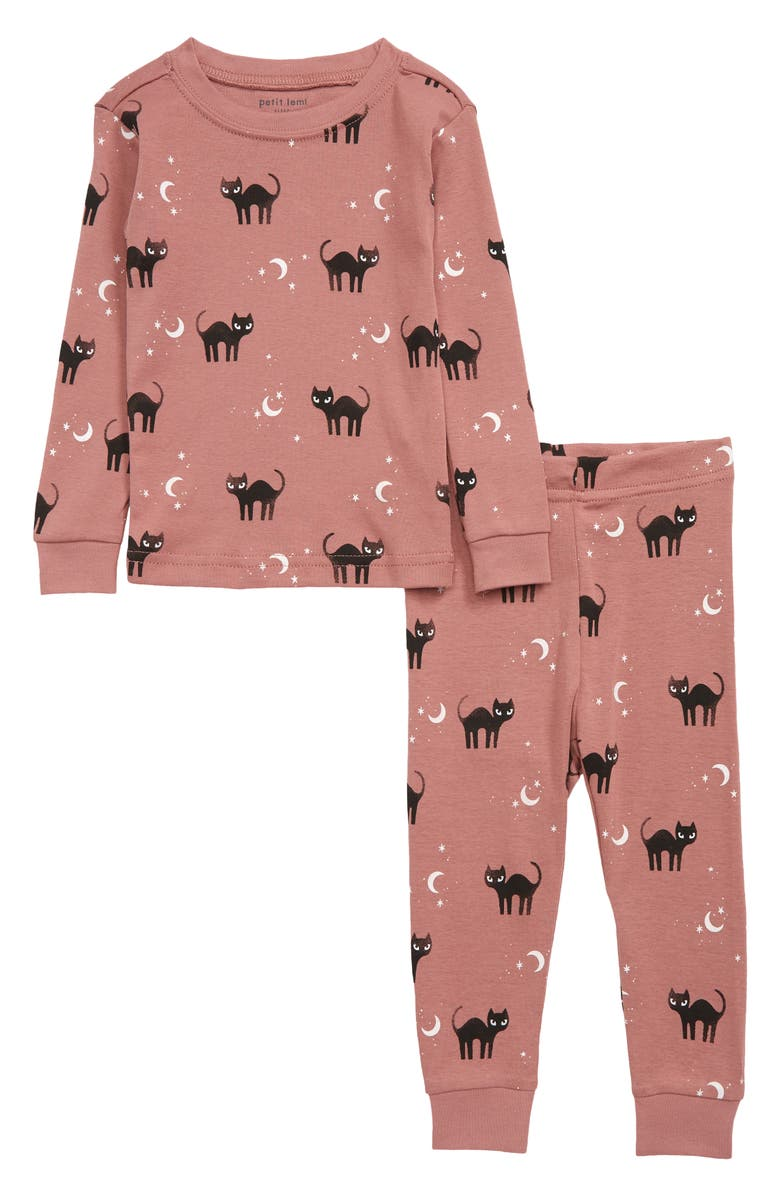 PETIT LEM Glow in the Dark Cat Print Organic Cotton Fitted Two-Piece Pajamas, Main, color, 410 DUSTY PINK