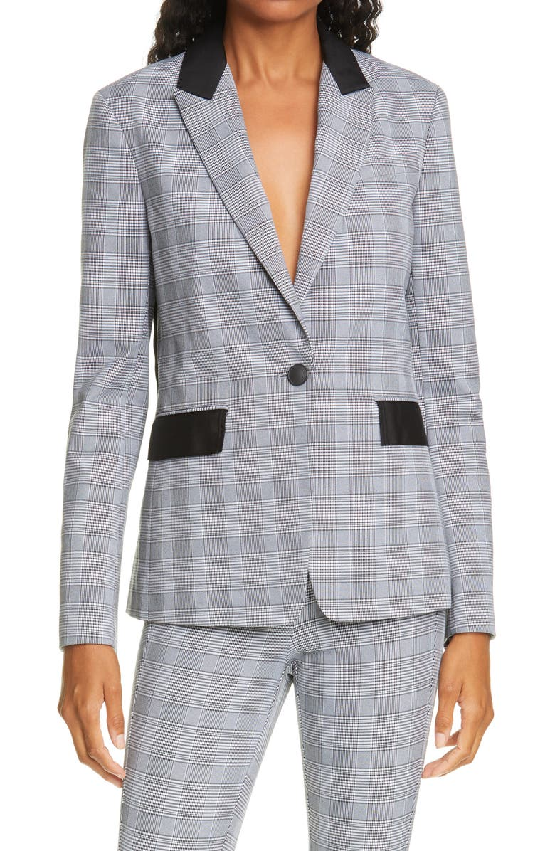 RAG & BONE Rylie Glen Plaid Grosgrain Trim Blazer, Main, color, BLACK MULTI PLAID
