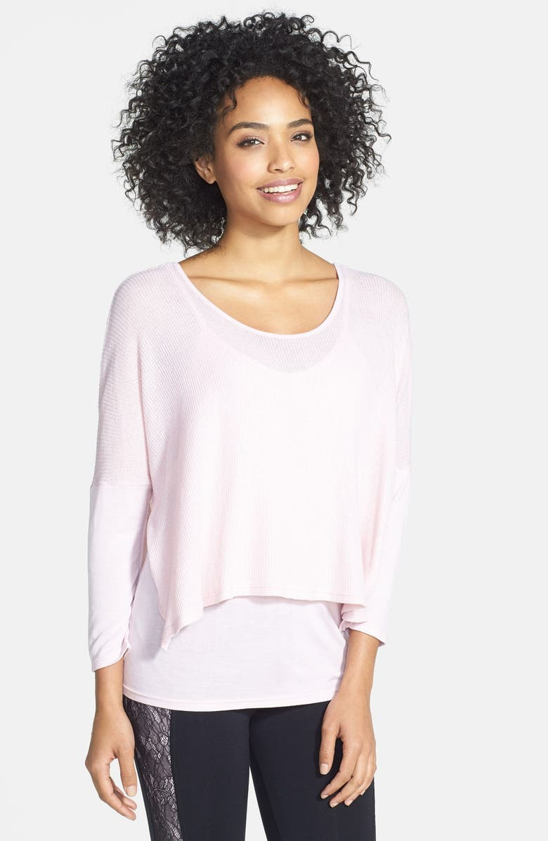 SOLOW Pointelle Two-Way Thermal Step Hem Top, Main, color, 650